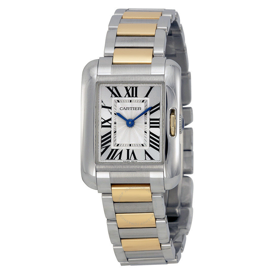 cartier tank anglaise silver dial stainless steel and 18kt yellow gold ladies watch w5310046. Black Bedroom Furniture Sets. Home Design Ideas