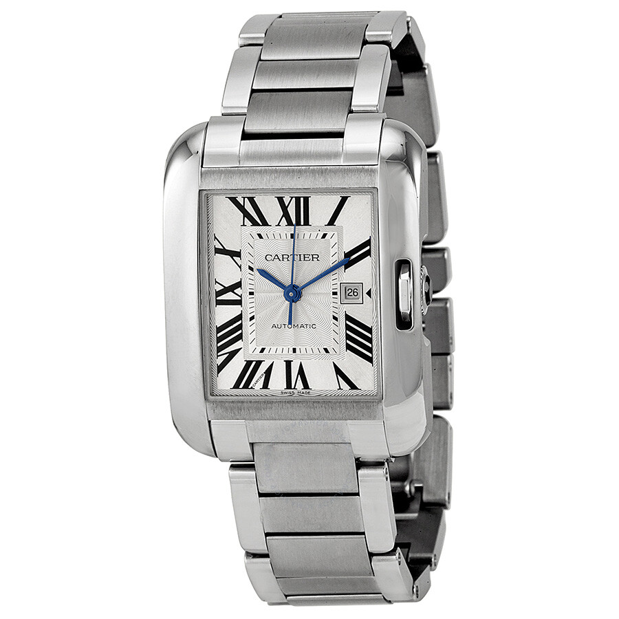 Cartier Tank Anglaise Silver Dial Stainless Steel Bracelet Men's Watch