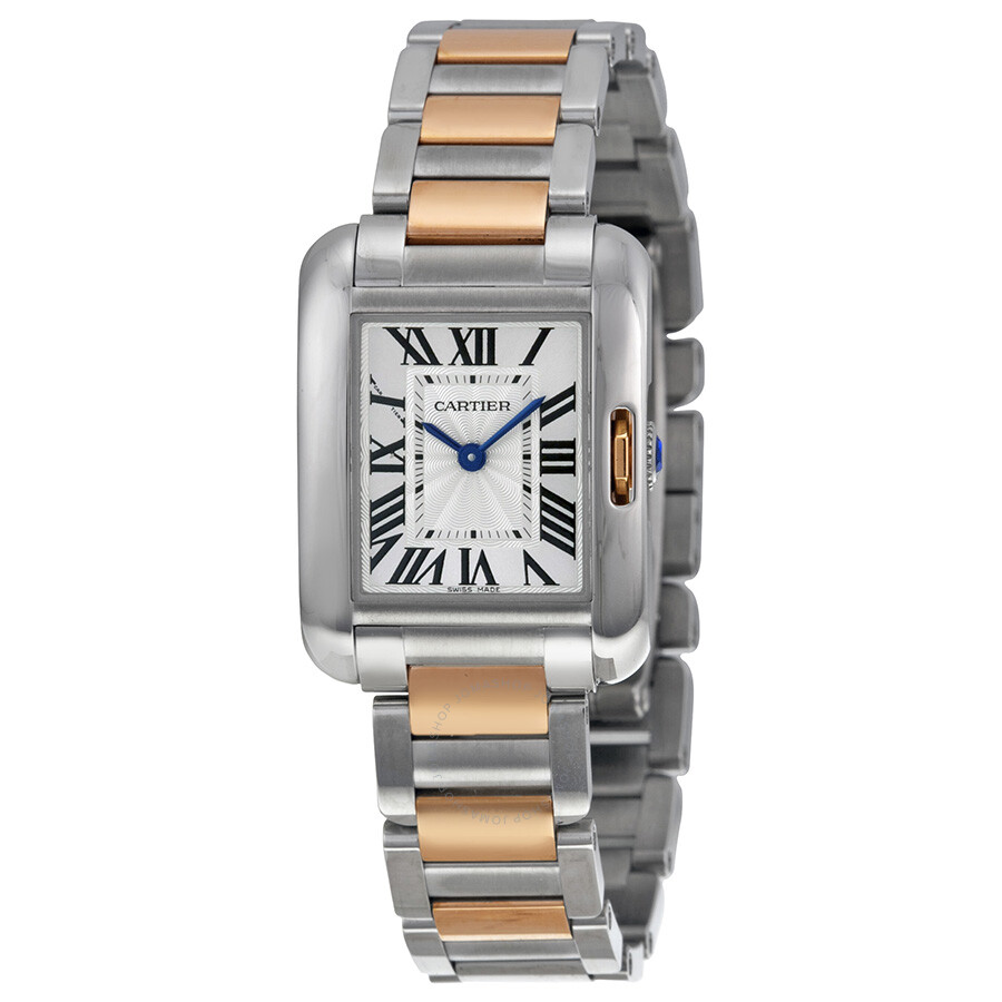 cartier tank anglaise small silver dial 18 kt rose gold and steel ladies watch w5310019 tank. Black Bedroom Furniture Sets. Home Design Ideas