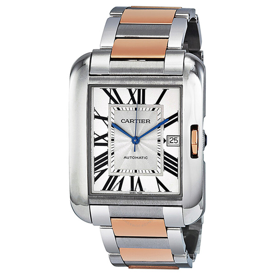 32f5d4dad625 Cartier Tank Anglaise XL Automatic Silver Dial 18 kt Rose Gold and Steel  Men s Watch W5310006 ...