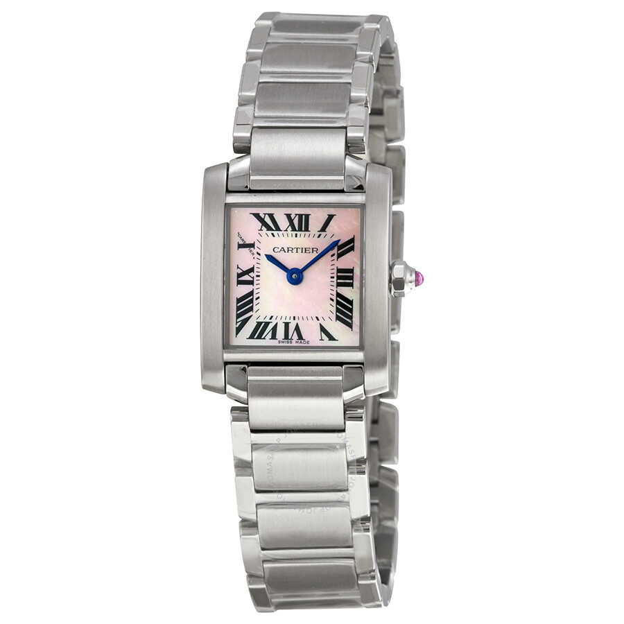 cartier tank francaise pink mother of pearl dial ladies watch w51028q3 tank francaise. Black Bedroom Furniture Sets. Home Design Ideas
