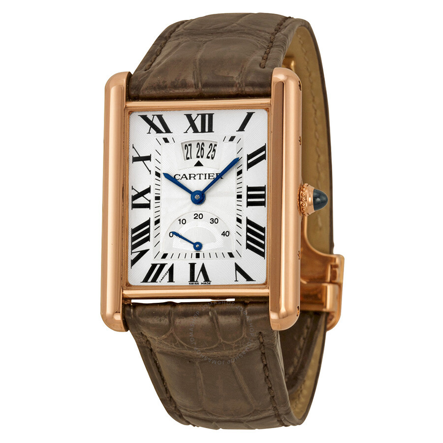 cartier tank louis silver dial 18k rose gold brown leather mechanical men 39 s watch w1560003. Black Bedroom Furniture Sets. Home Design Ideas