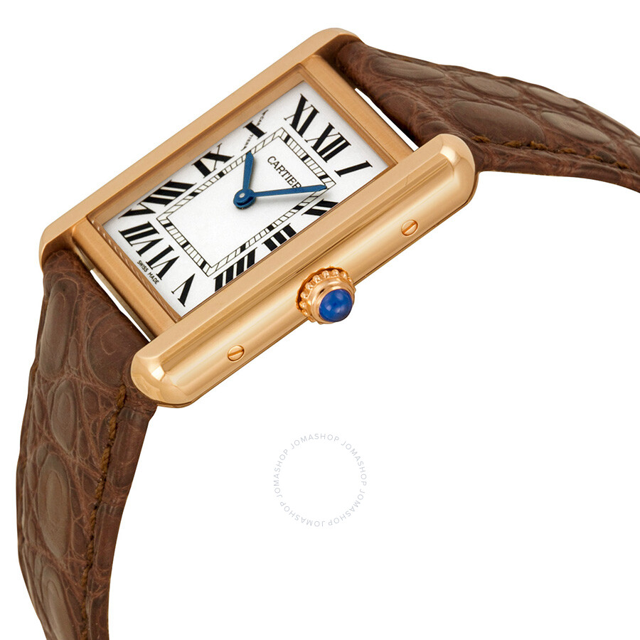 f78a12d94 ... Cartier Tank Solo Silver Dial Brown Leather Strap Ladies Watch W5200024  ...