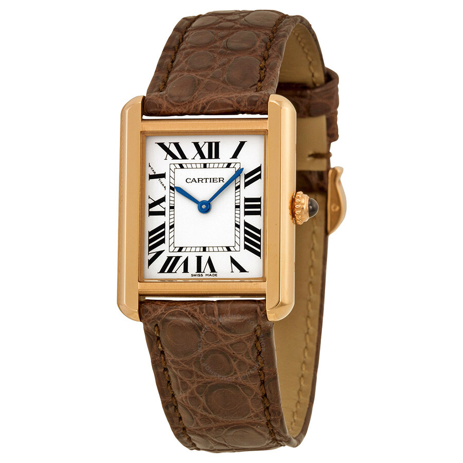cf184730a57f Cartier Tank Solo Silver Dial Brown Leather Strap Ladies Watch W5200024 ...