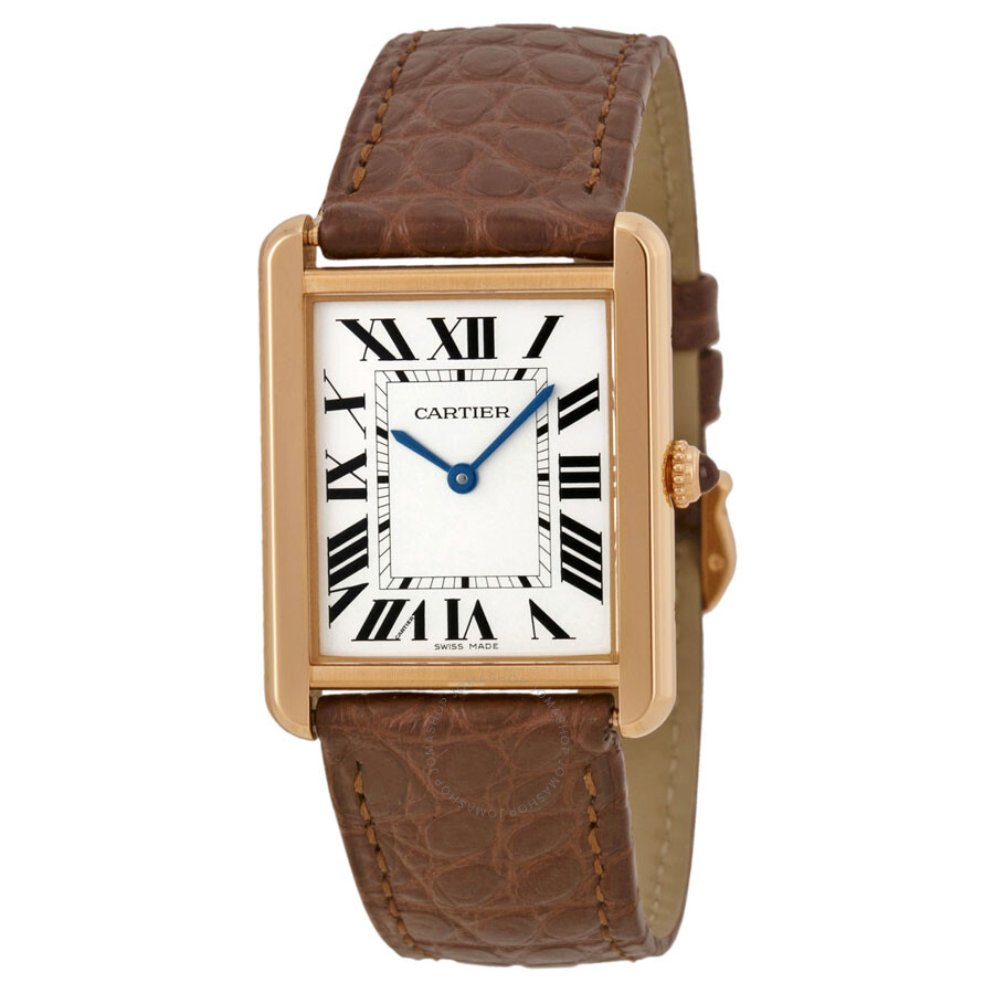 cartier tank solo silver dial brown leather strap ladies watch w5200025 tank solo cartier. Black Bedroom Furniture Sets. Home Design Ideas