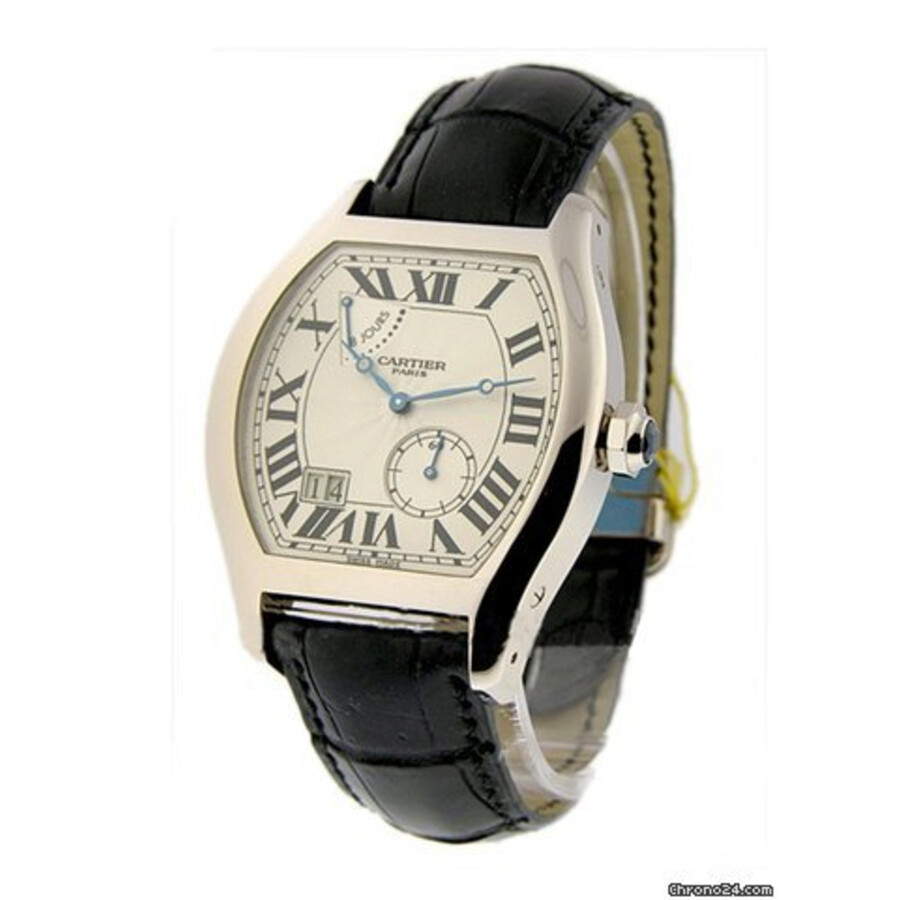 18 Carat Rose Gold: Cartier Tortue XL Silver Guilloche Dial Men's 18 Carat