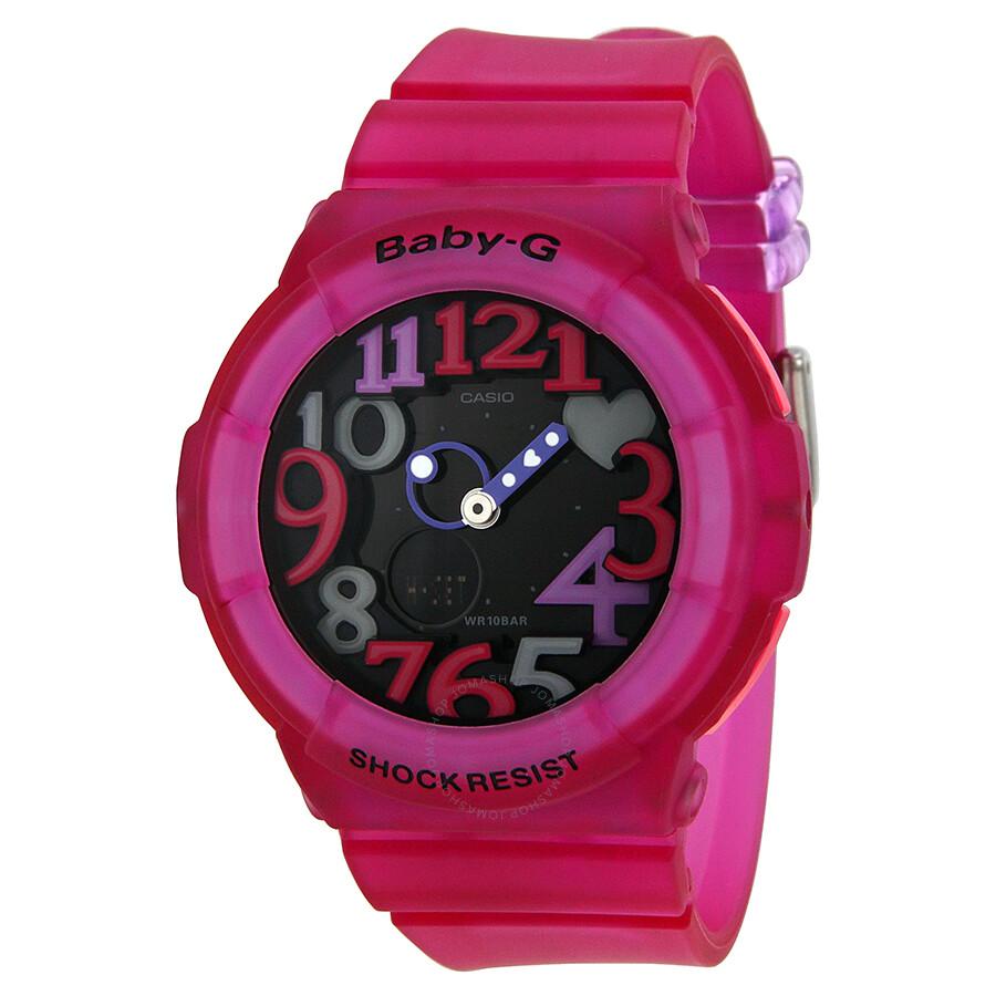 Casio Baby G Analog Digital Black Dial Pink Resin Strap Ladies Watch Bga131 4b4cr