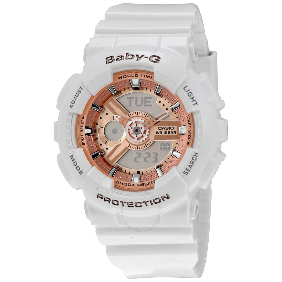 Casio Baby G White Resin Ladies Watch Ba110 7a1 Baby G