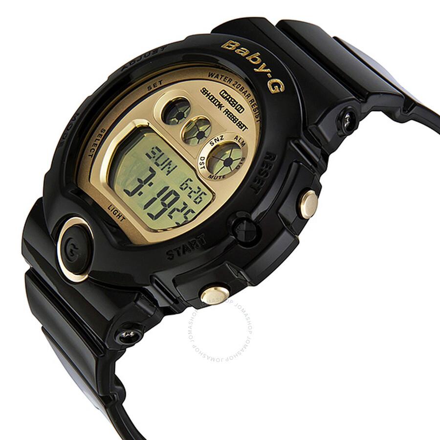 Casio baby g gold dial black resin digital multi function ladies watch bg 6901 1 baby g for Black resin ladies watch