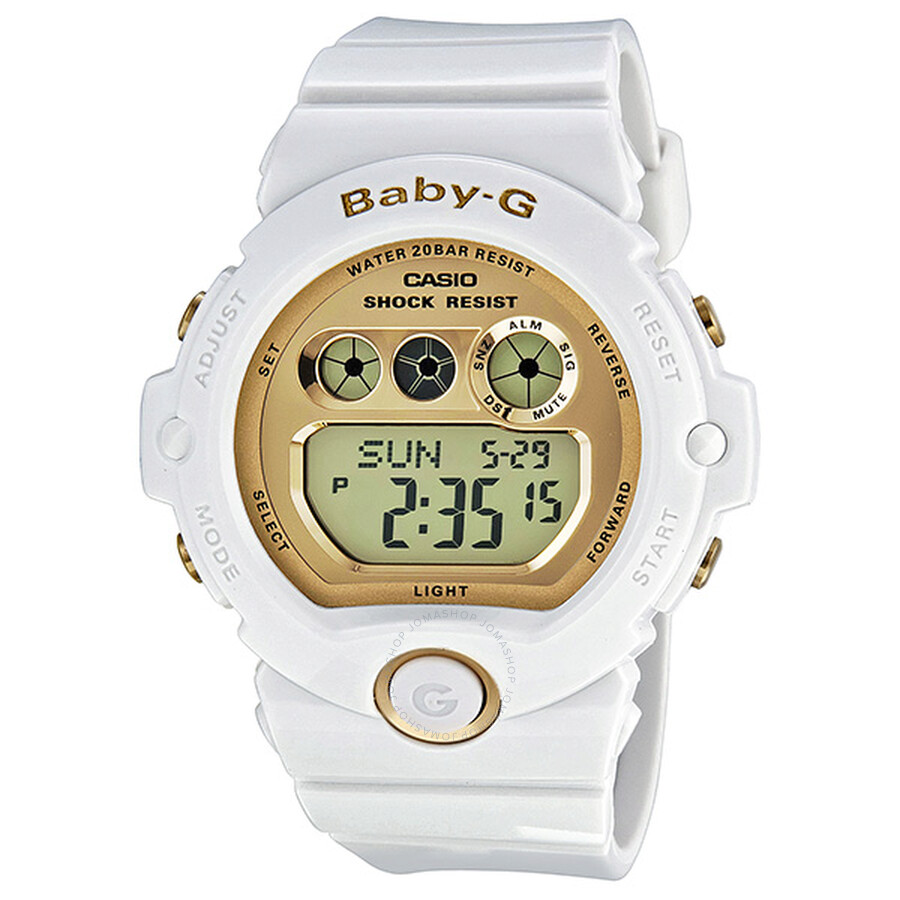 cc64750c0992 Casio Baby-G Gold Dial Shiny White Resin Strap Digital Multi-Function  Ladies Watch ...