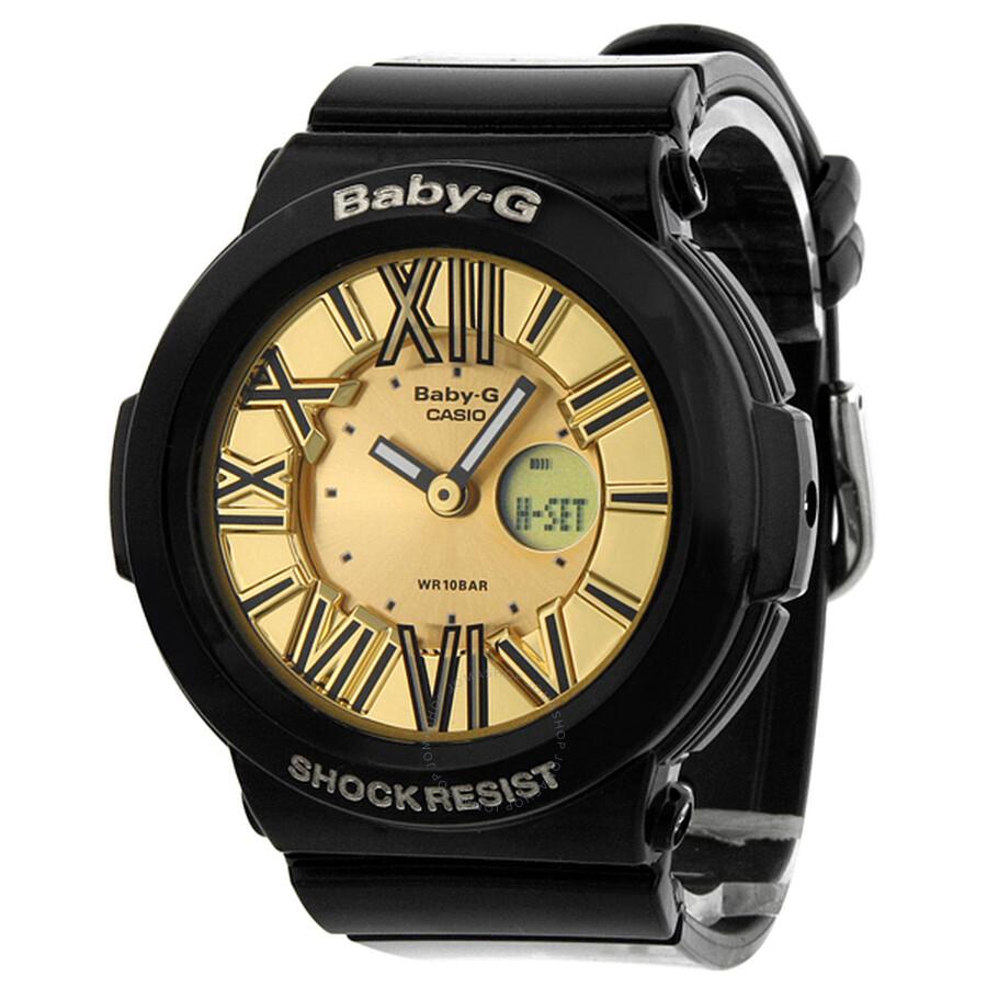 Casio baby g neon illuminator gold dial black resin ladies watch bga160 1b baby g casio for Black resin ladies watch