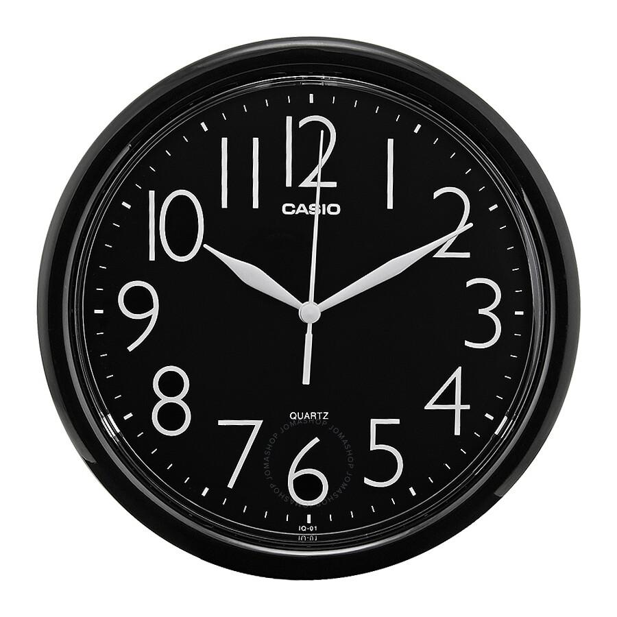 Casio black dial round wall clock iq 01 1r clock casio casio black dial round wall clock iq 01 1r amipublicfo Gallery