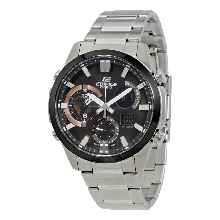 casio edifice black stainless steel s