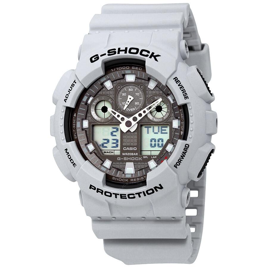 casio g shock analog digital white resin s