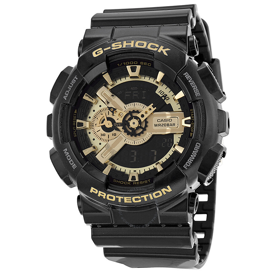 casio g shock analog digital black and gold resin