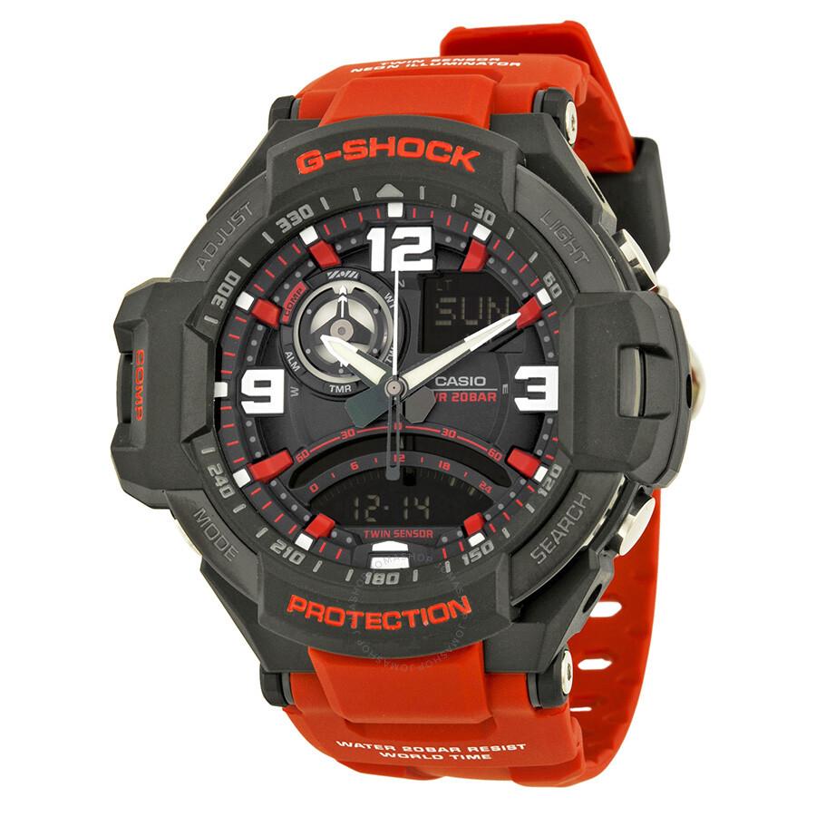 Casio G Shock Black Analog Digital Dial Red Resin Men S Watch Ga1000 4b