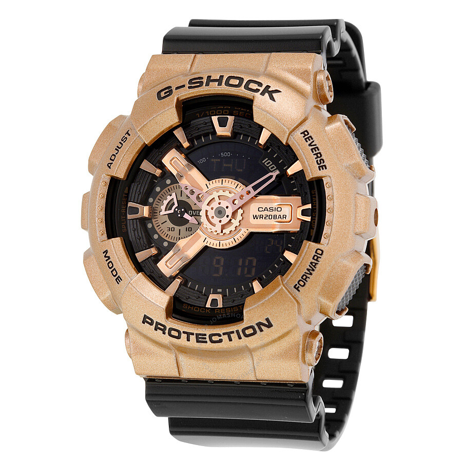 casio g shock black gold colored and black resin