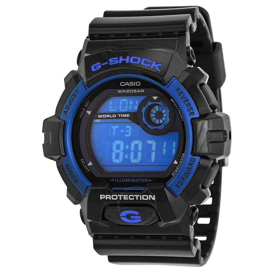 Casio G Shock Blue Dial Black Resin Strap Men's Watch ...