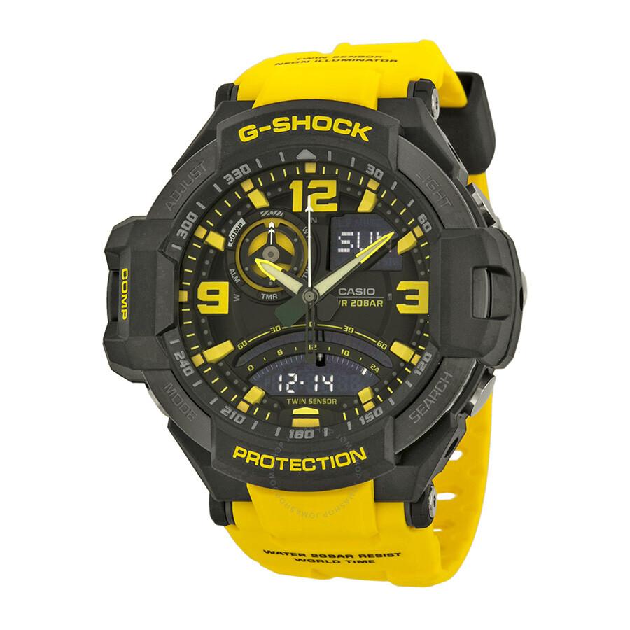 Casio G Shock G Aviation Black Dial Yellow Resin Men S Watch Ga1000 9bcr