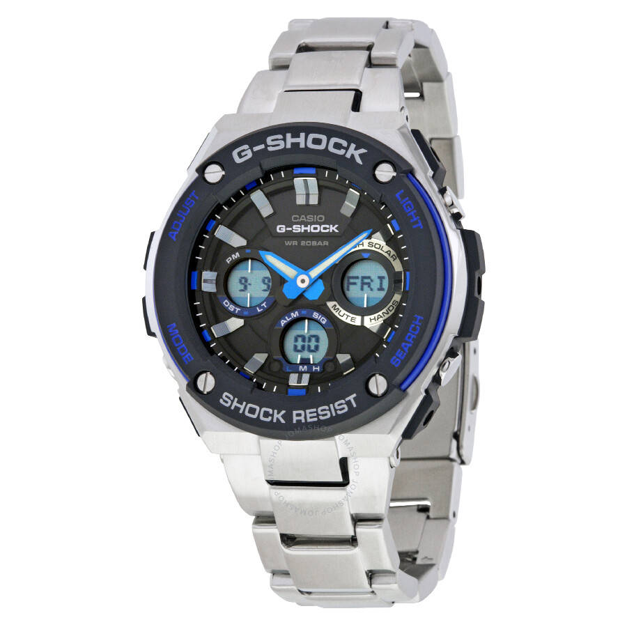 Casio g shock g steel black dial men 39 s watch gsts100d 1a2 g shock casio watches jomashop for Watches g shock