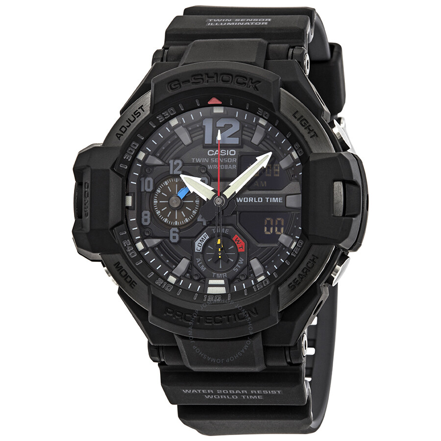 8bae38f678cf Casio G-Shock Gravitymaster Alarm World Time Black Dial Men's Watch  GA1100-1A1 ...