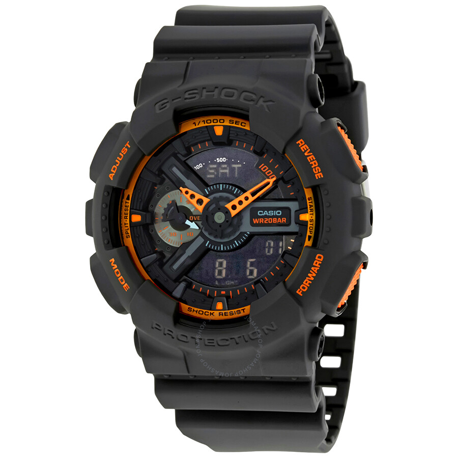 Casio g shock grey and orange resin men 39 s watch ga110ts 1a4 g shock casio watches jomashop for Watches g shock