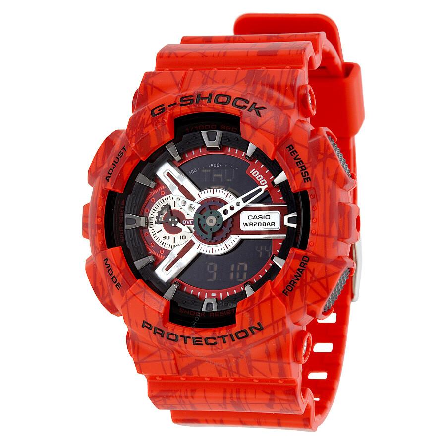 1cf00a9fc5e4 Casio G-Shock Quartz Red Analog Resin Strap Men s Watch GA110SL-4A ...