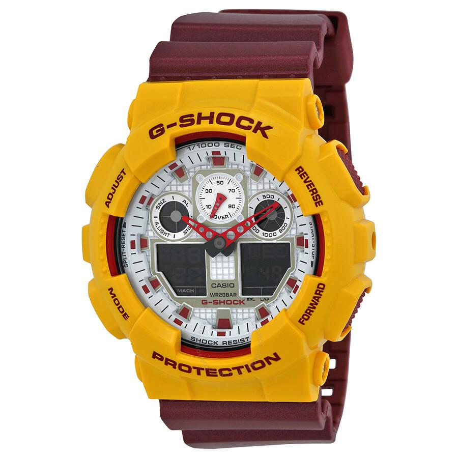 Casio G Shock Yellow And Burgundy Resin Men S Watch Ga100cs 9acr