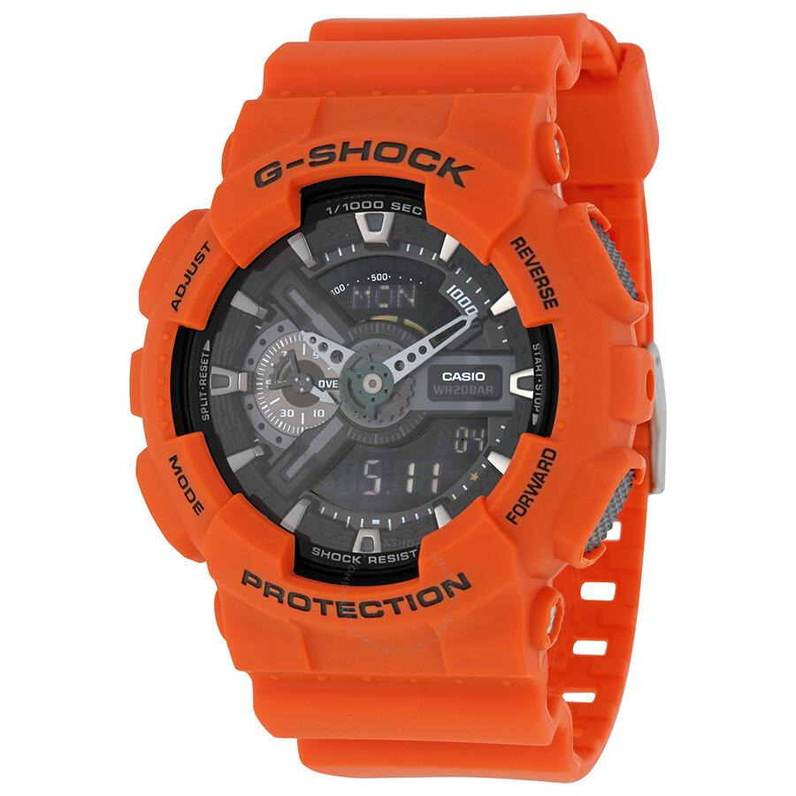 037028429739 Casio G-Shock Black Analog Digital Dial Orange Resin Men s Watch GA110MR-4A  ...