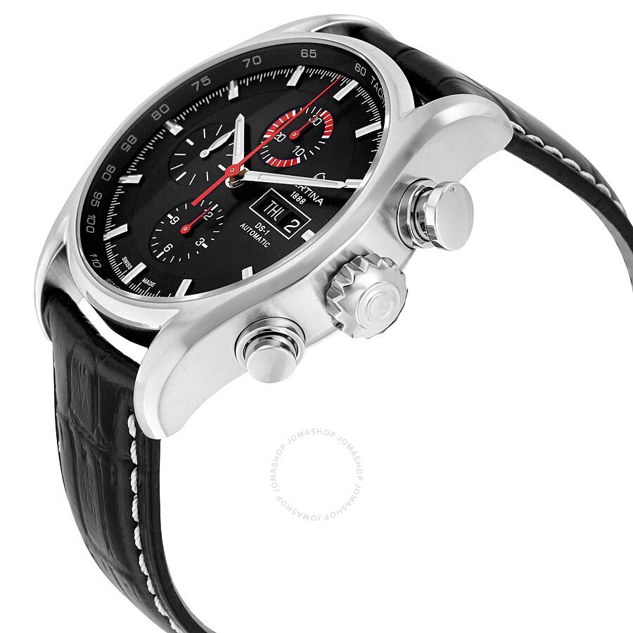 b30953f95 ... Certina DS 1 - Chronograph Genuine Black Leather Men's Automatic Watch  C0064141605101 ...
