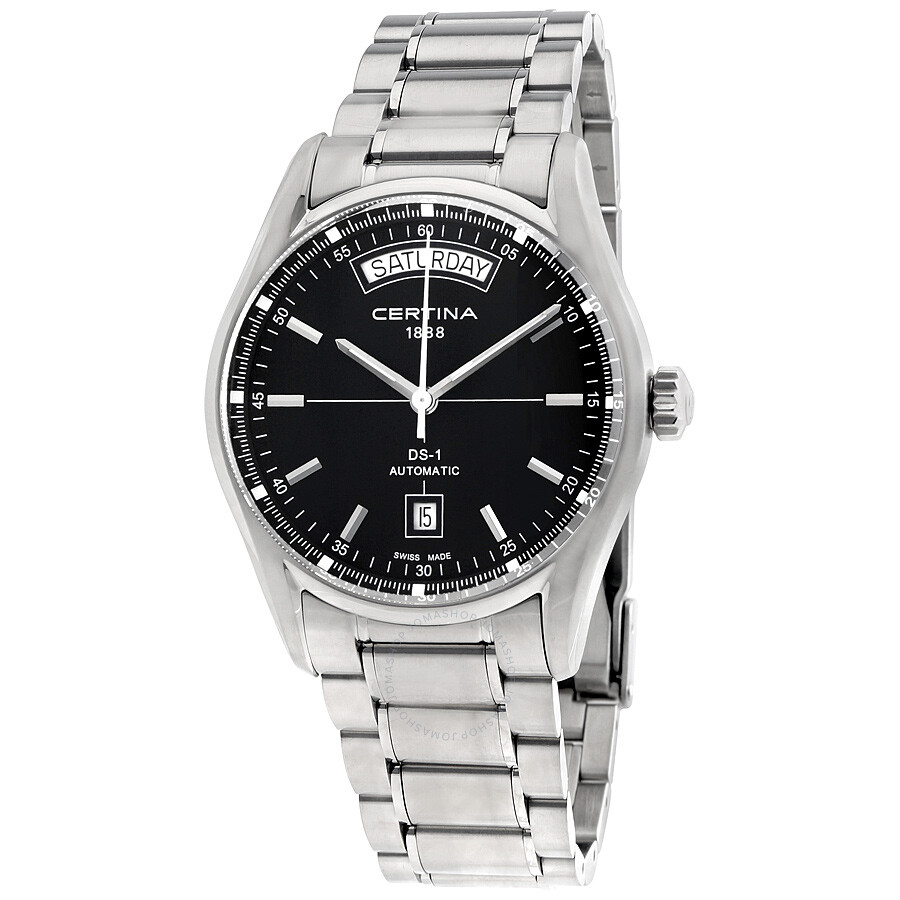 Certina DS 1 Automatic Day Date Black Dial Men's Watch ...
