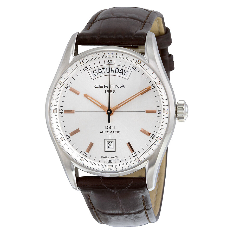 Certina DS 1 Day Date Automatic Silver Dial Brown Leather ...