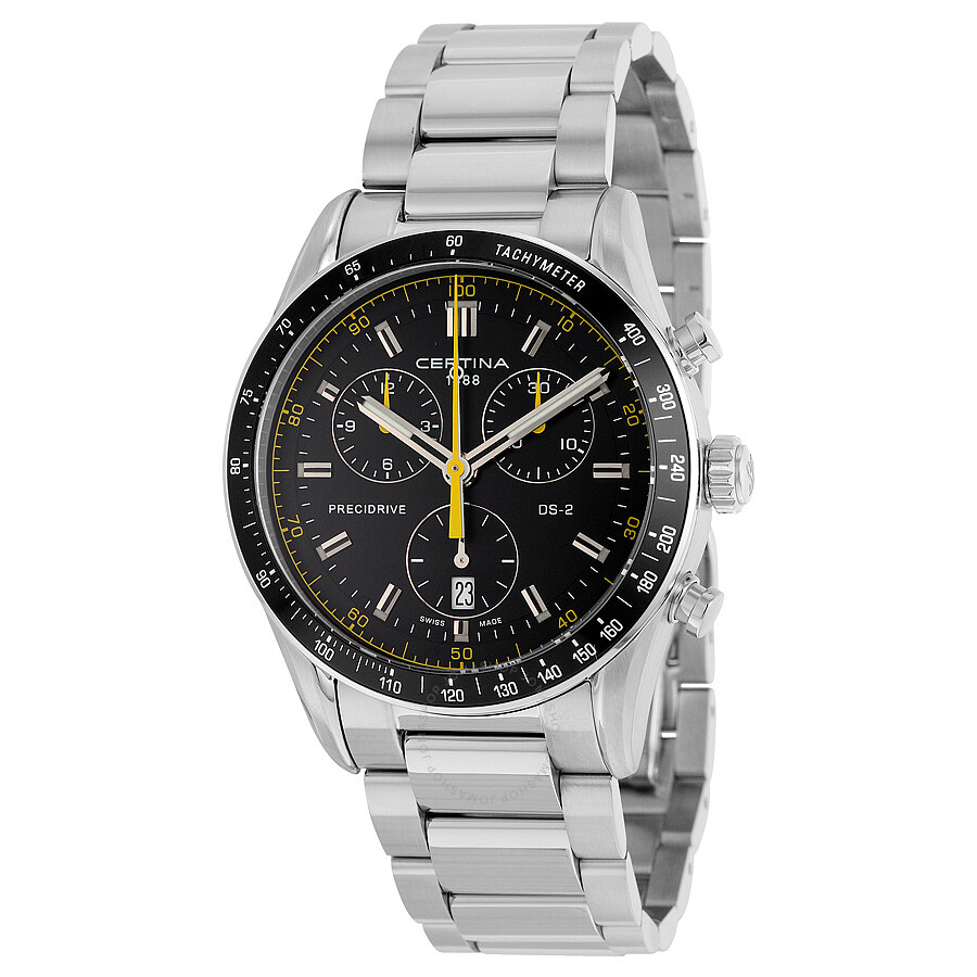 Certina ds 2 chronograph black dial men 39 s stainless steel watch ds 2 for Stainless steel watch