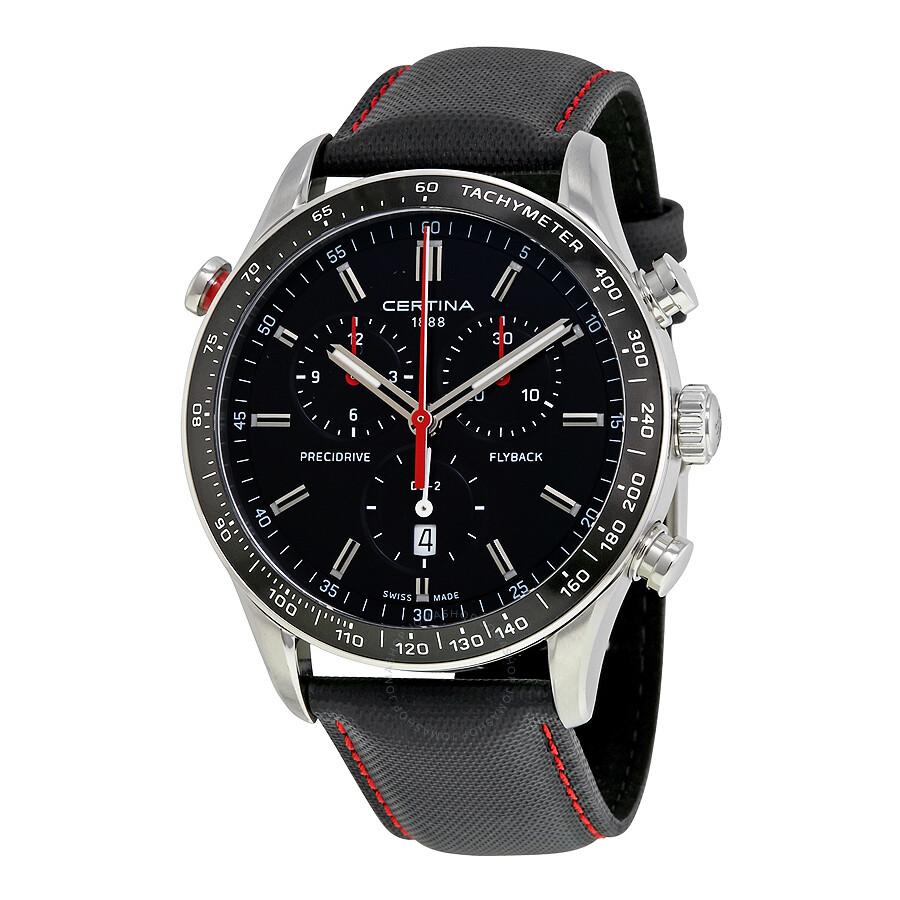 certina ds 2 flyback chronograph black dial men 39 s watch. Black Bedroom Furniture Sets. Home Design Ideas