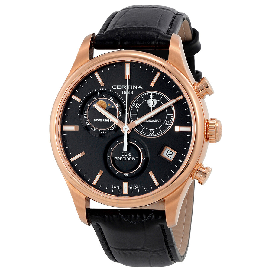certina ds 8 chronograph black dial men 39 s watch. Black Bedroom Furniture Sets. Home Design Ideas