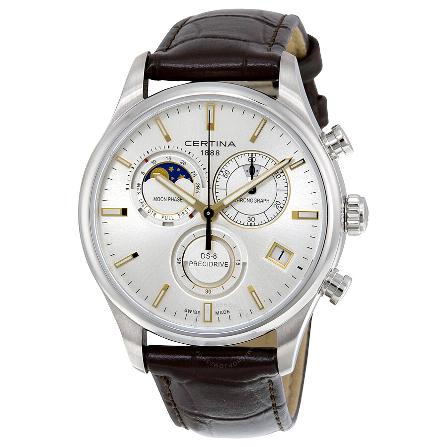certina ds 8 chronograph moon phase silver brown