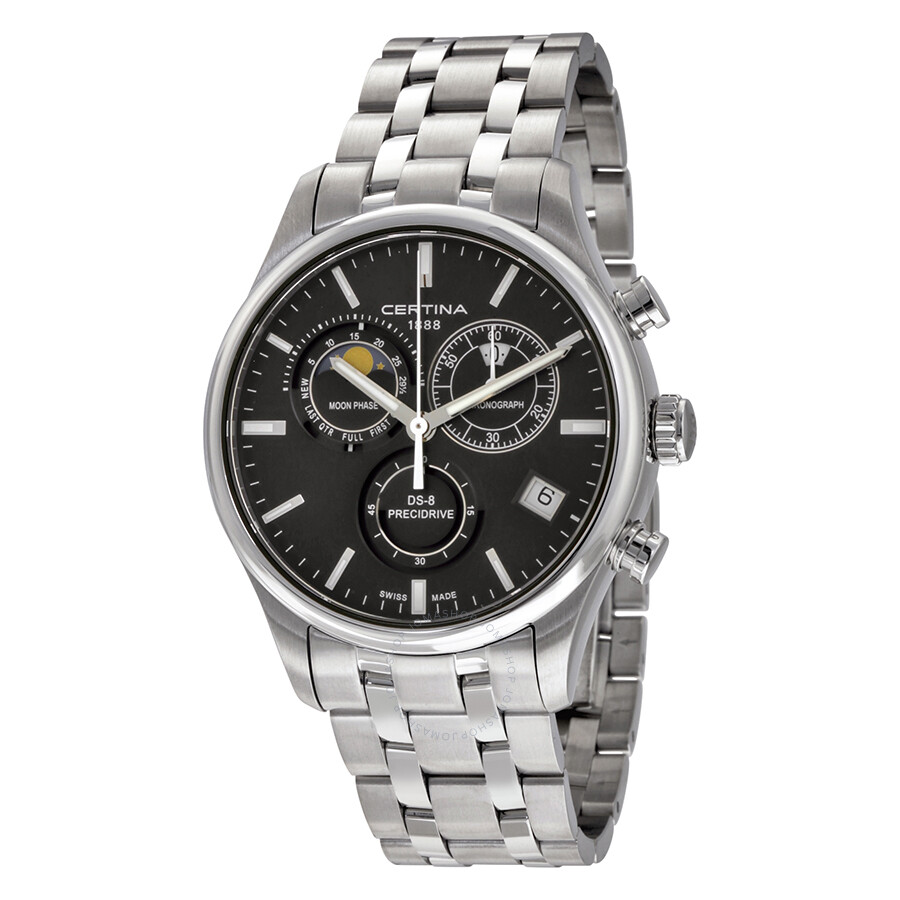 certina ds 8 chronograph moonphase black dial stainless. Black Bedroom Furniture Sets. Home Design Ideas
