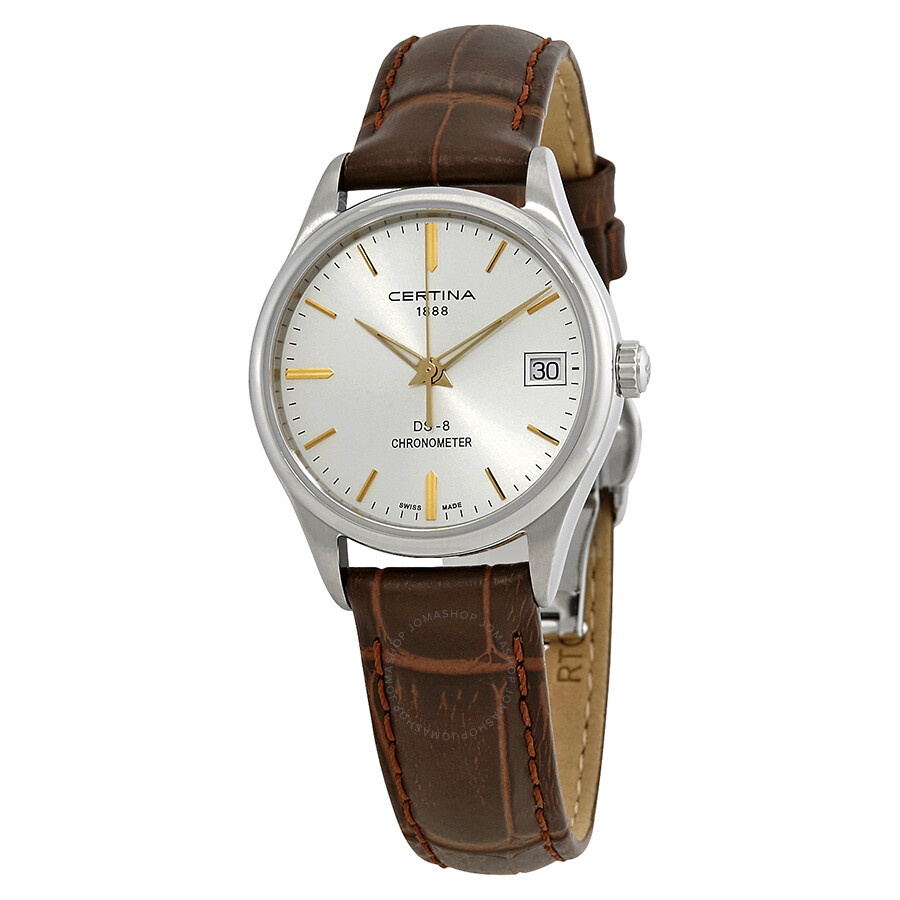 certina ds 8 silver brown leather c033