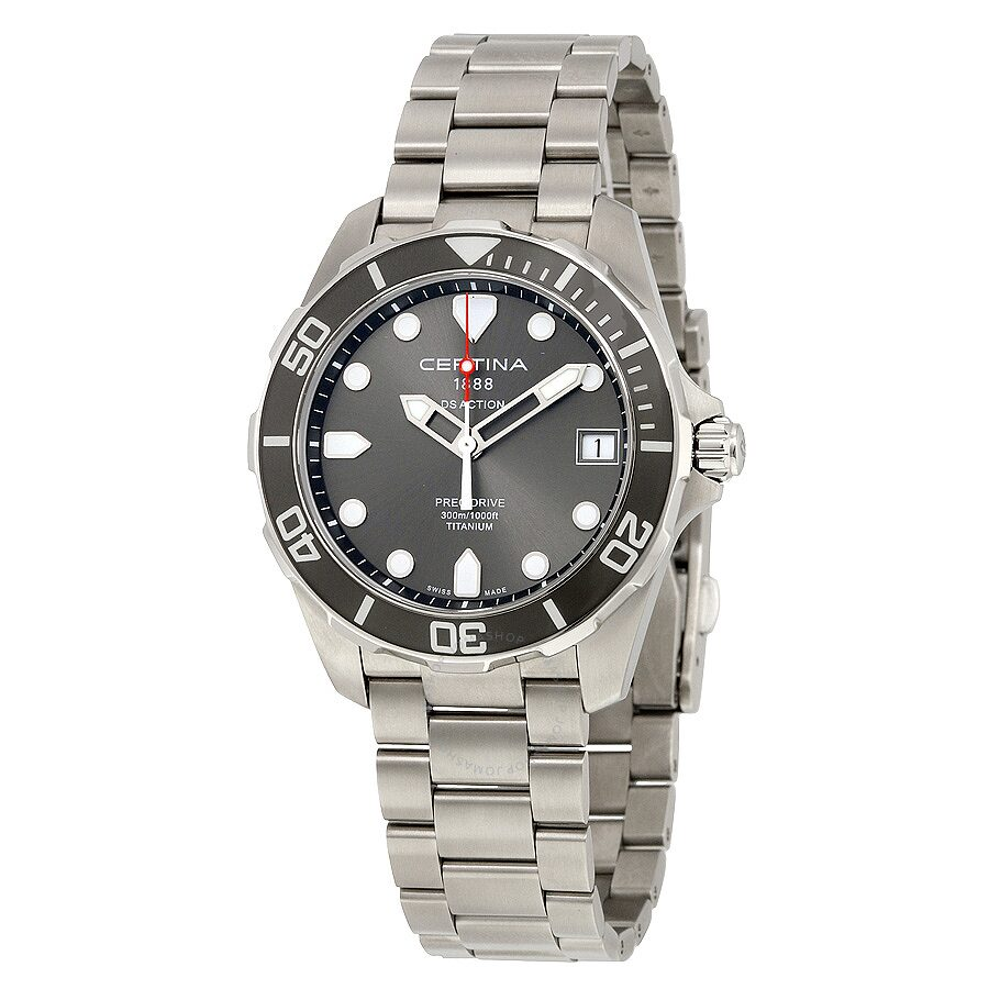 Certina ds action grey dial titanium men 39 s watch c0324104408100 ds action certina watches for Titanium watches