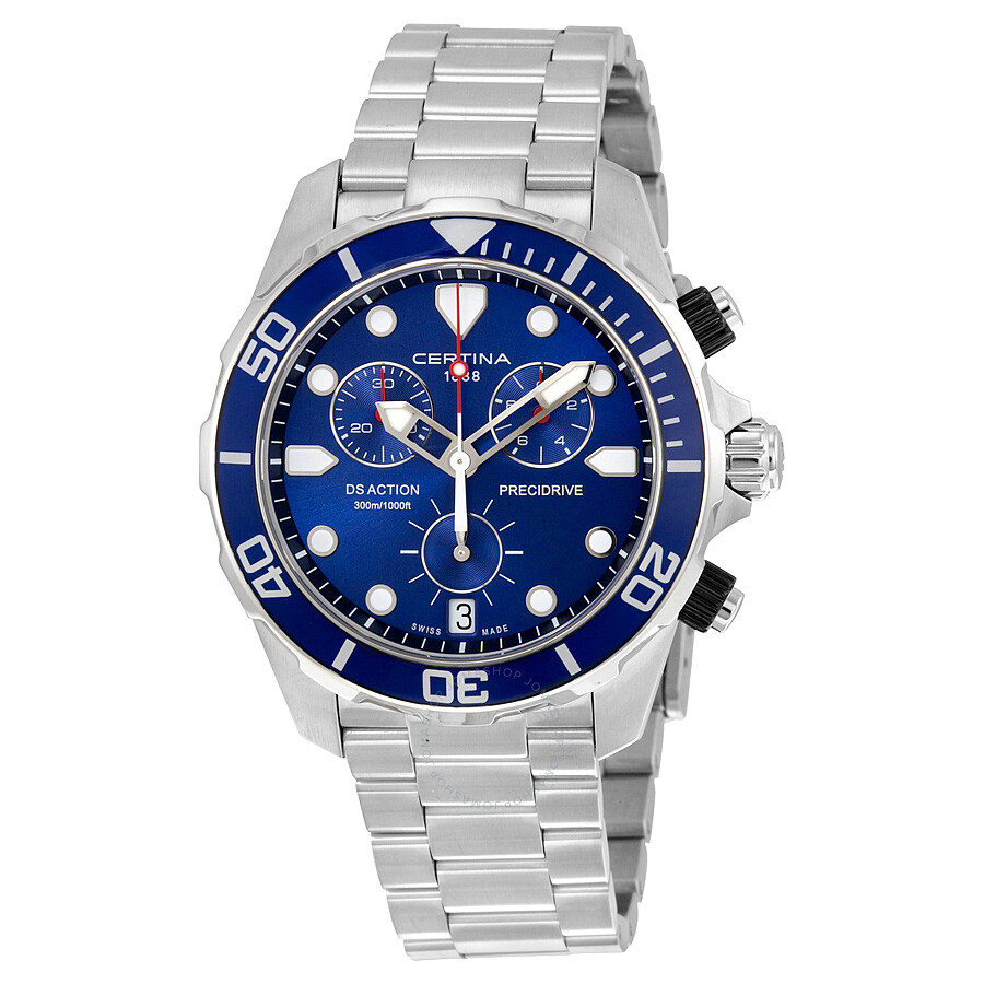certina ds action chronograph blue dial mens watch c032