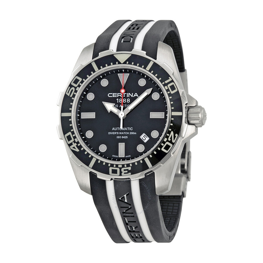 certina ds action diver automatic black dial black and