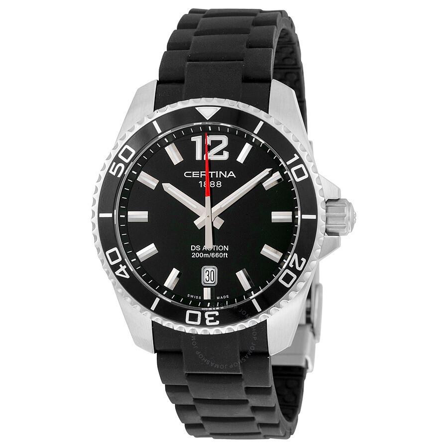 certina ds action quartz black dial mens watch