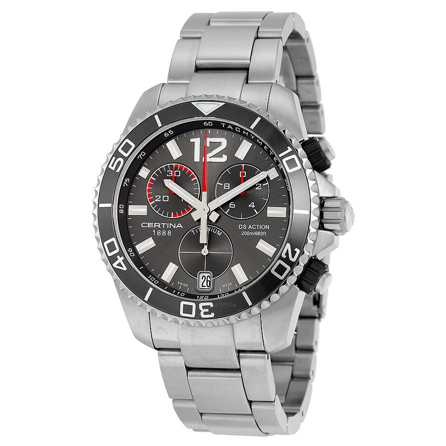 certina ds action quartz chronograph grey dial titanium