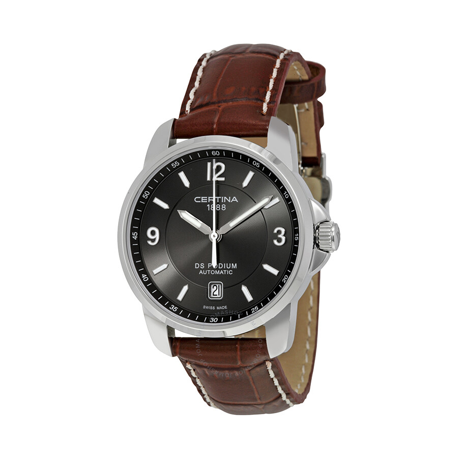 certina ds podium automatic grey brown leather s