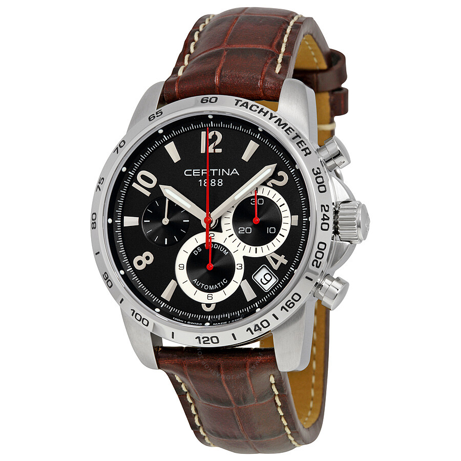 certina ds podium chronograph automatic black dial brown. Black Bedroom Furniture Sets. Home Design Ideas