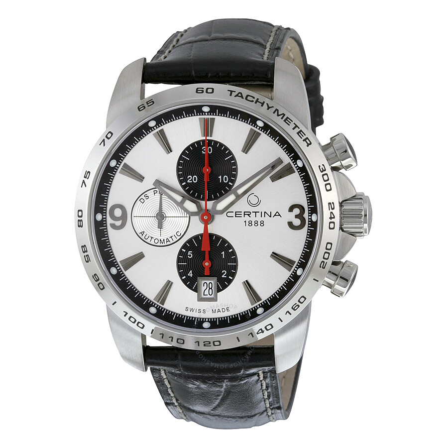 certina ds podium chronograph automatic silver dial black. Black Bedroom Furniture Sets. Home Design Ideas