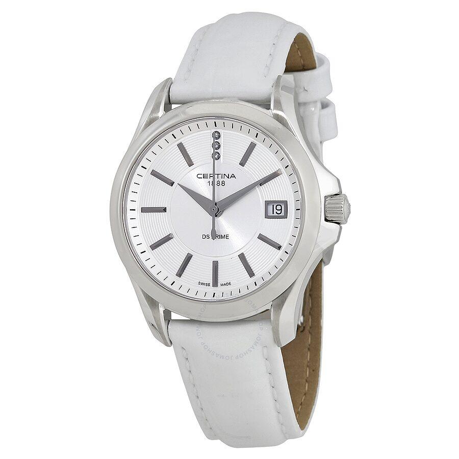 Certina DS Prime Round Genuine White Leather Ladies Quartz Watch  C0042101603600 Item No. C004.210.16.036.00 135b1d8c283