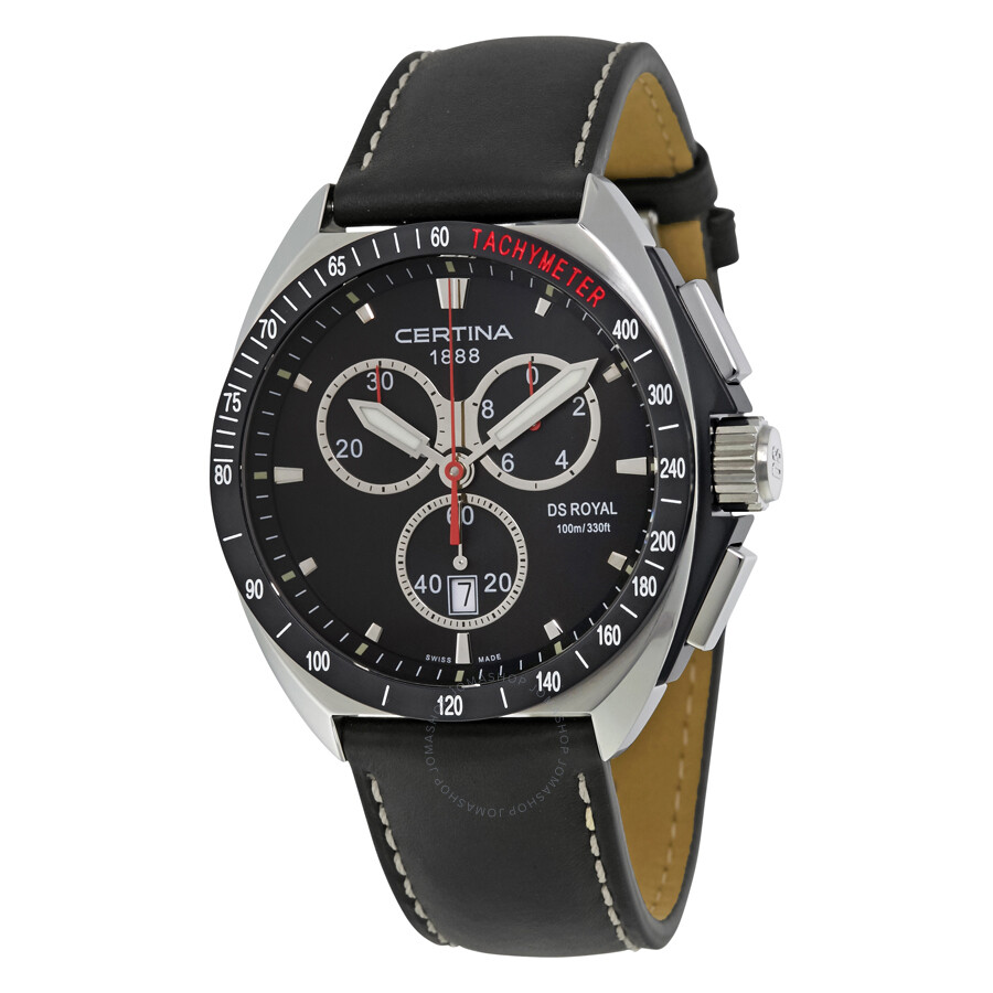 certina ds royal chronograph black dial men 39 s watch. Black Bedroom Furniture Sets. Home Design Ideas