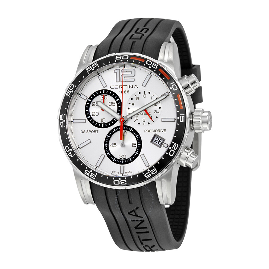 certina ds sport chronograph silver dial men 39 s watch c027. Black Bedroom Furniture Sets. Home Design Ideas