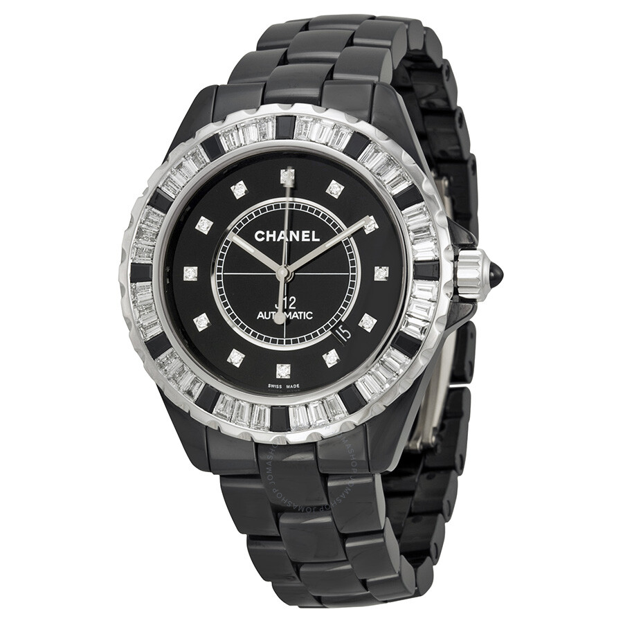 Chanel j12 automatic black diamond dial black ceramic men 39 s watch h2024 j12 chanel watches for Ceramic man watch
